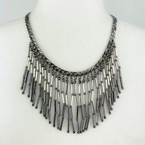 New York & Co Silver Fringe Statement Necklace